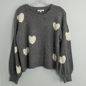 Madewell Gray White Hearts Balloon Sleeve Sweater